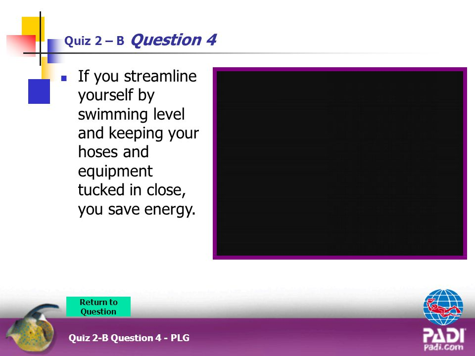 Quiz 2 – B Question 4 Quiz 2-B Question 4 - PLG If you streamline yourself by swimming level and keeping your hoses and equipment tucked in close, you save energy.