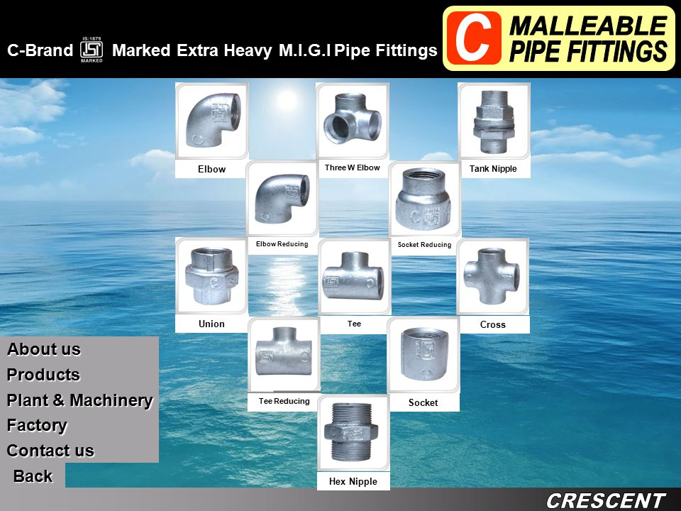 C-Brand Marked Extra Heavy M.I.G.I Pipe Fittings Back Contact us Contact us Products About us About us Factory Plant & Machinery Plant & Machinery