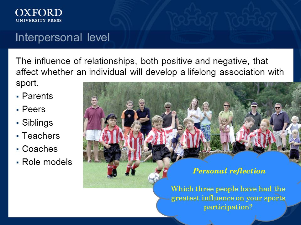 Interpersonal level The influence of relationships, both positive and negative, that affect whether an individual will develop a lifelong association