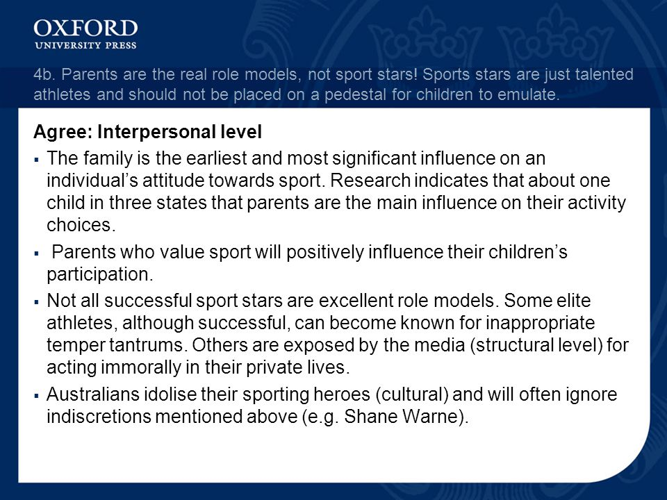 4b. Parents are the real role models, not sport stars! Sports stars are just talented athletes and should not be placed on a pedestal for children to