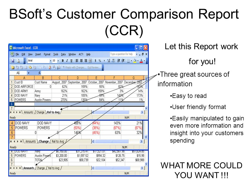 BSoft's Customer Comparison Report (CCR) Let this Report work for you! Three great sources of information Easy to read User friendly format Easily man