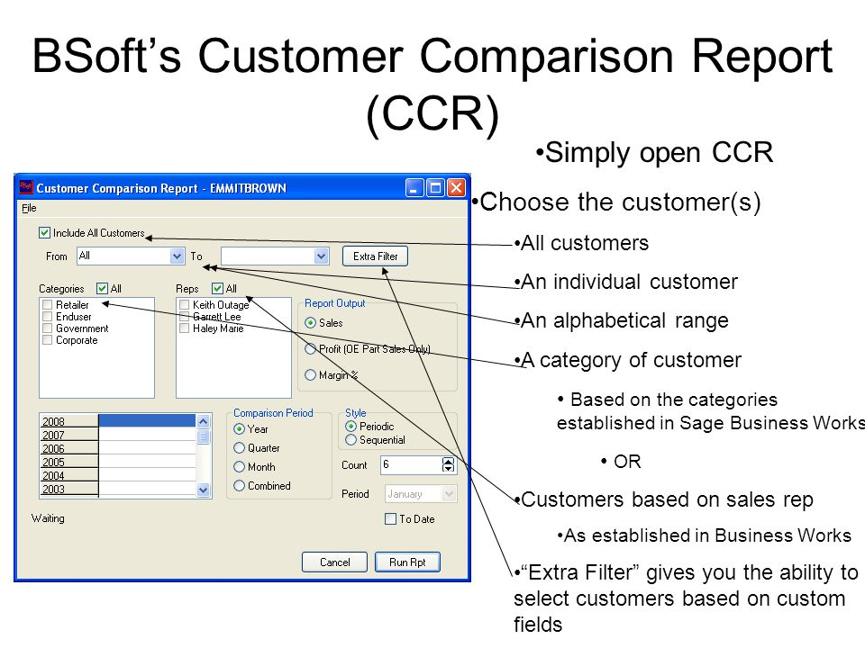BSoft's Customer Comparison Report (CCR) Now, choose from three output options for your report Sales $$$$ Shows gross sales dollars by selected customer(s) Profit Shows markup revenue generated by sales of parts in OE Margin % Similar to Profit, expressed in percentage format