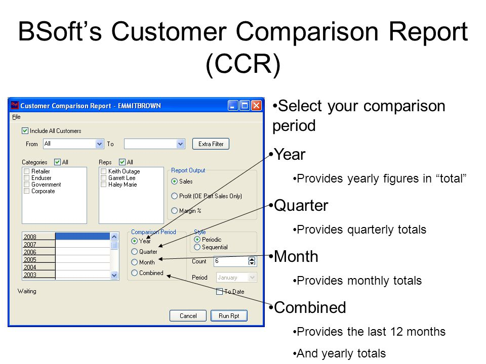 BSoft's Customer Comparison Report (CCR) Select the report style Periodic Compares the selected periods to one another i.e.