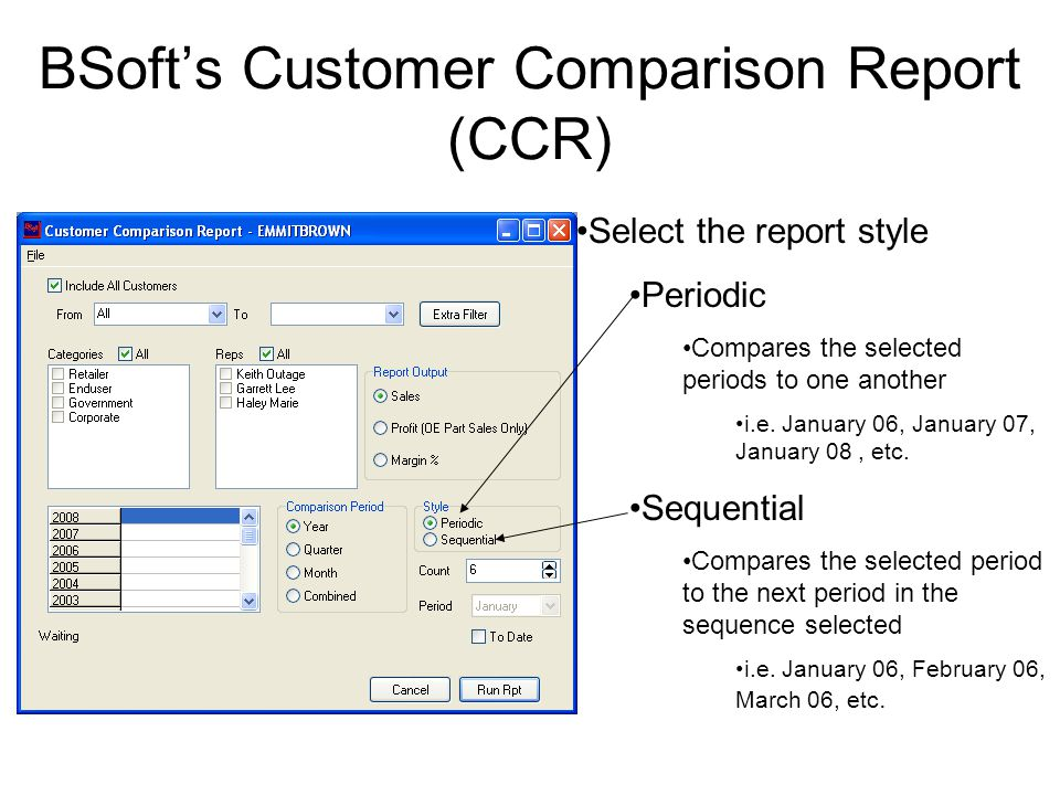 BSoft's Customer Comparison Report (CCR) Last, select Count The number of selected periods worth of data to include in the report Let's see how it all works together!!