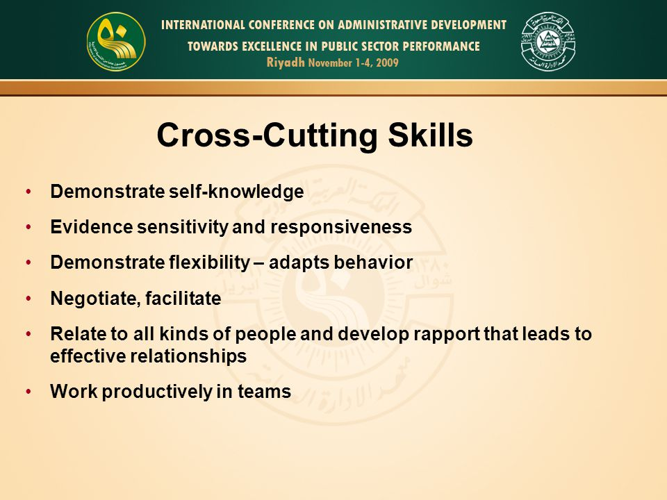 Demonstrate self-knowledge Evidence sensitivity and responsiveness Demonstrate flexibility – adapts behavior Negotiate, facilitate Relate to all kinds of people and develop rapport that leads to effective relationships Work productively in teams Cross-Cutting Skills