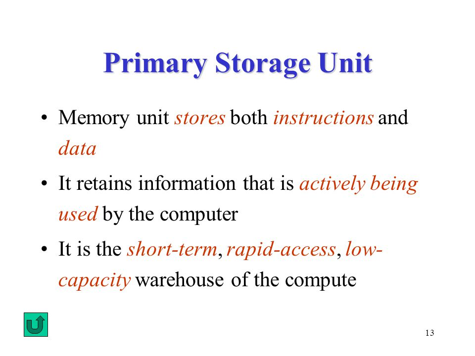 13 Primary Storage Unit Memory unit stores both instructions and data It retains information that is actively being used by the computer It is the short-term, rapid-access, low- capacity warehouse of the compute