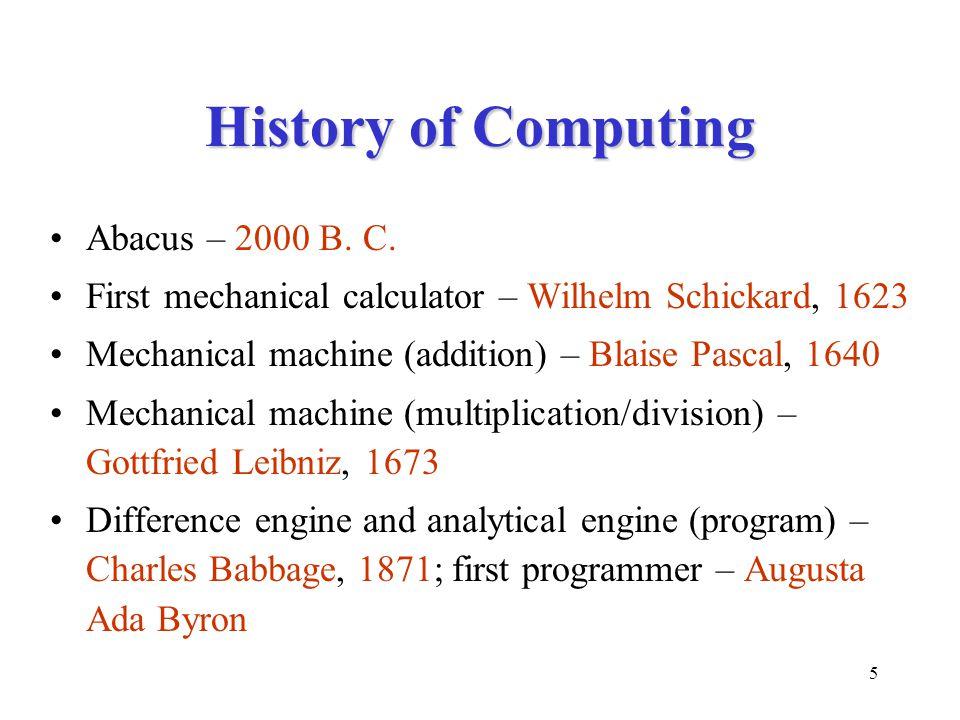 5 History of Computing Abacus – 2000 B. C.