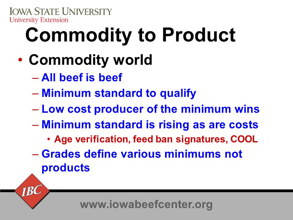 www.iowabeefcenter.org Commodity to Product Product world –Some beef is different –Differentiated on attributes and brands –Consumers pay more for different Attributes Processes Brands