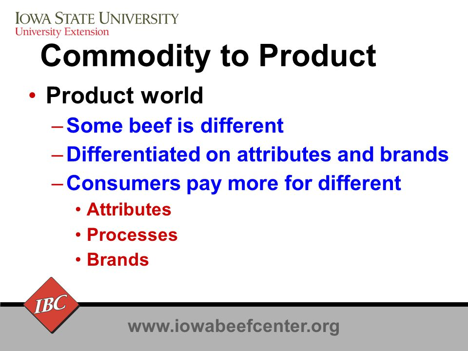 www.iowabeefcenter.org Cost of not meeting demands Commodity market will continue –The minimum will continue to rise Missed opportunities if you are not eligible for value added markets May lose to pork or poultry, and some beef producers will lose to other beef producers