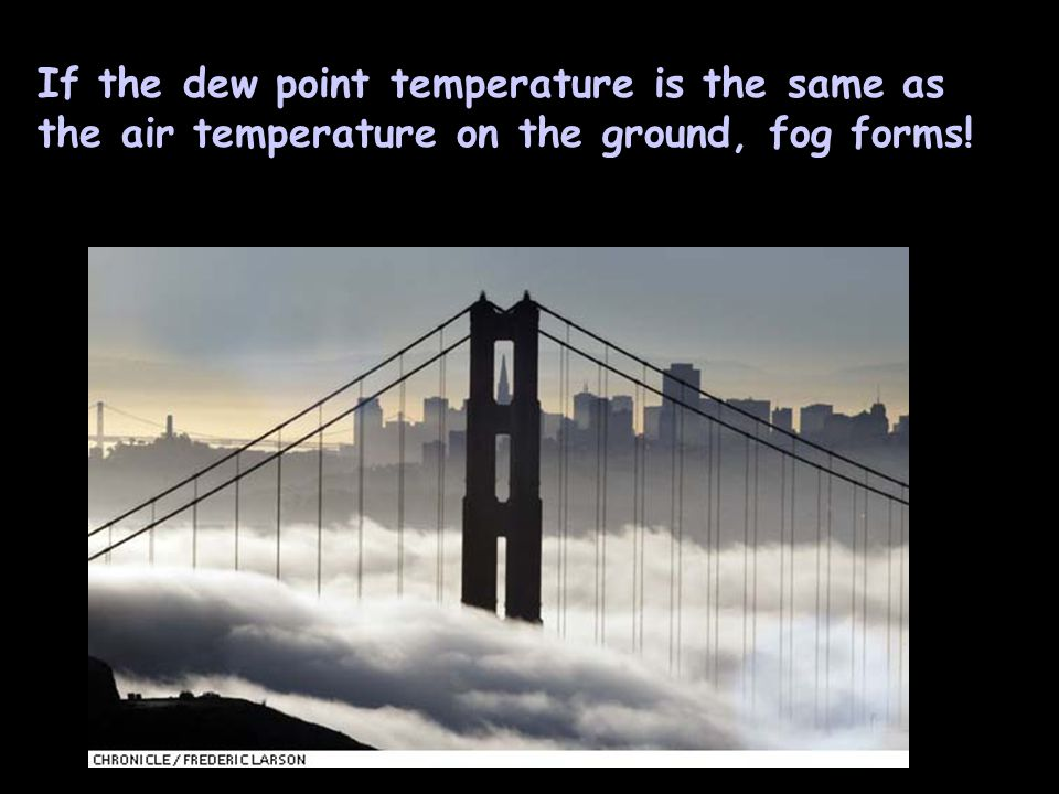 If the dew point temperature is the same as the air temperature on the ground, fog forms!