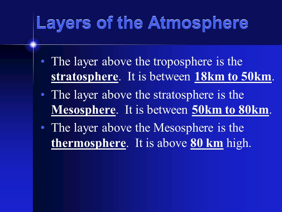 Layers of the Atmosphere The layer above the troposphere is the stratosphere.
