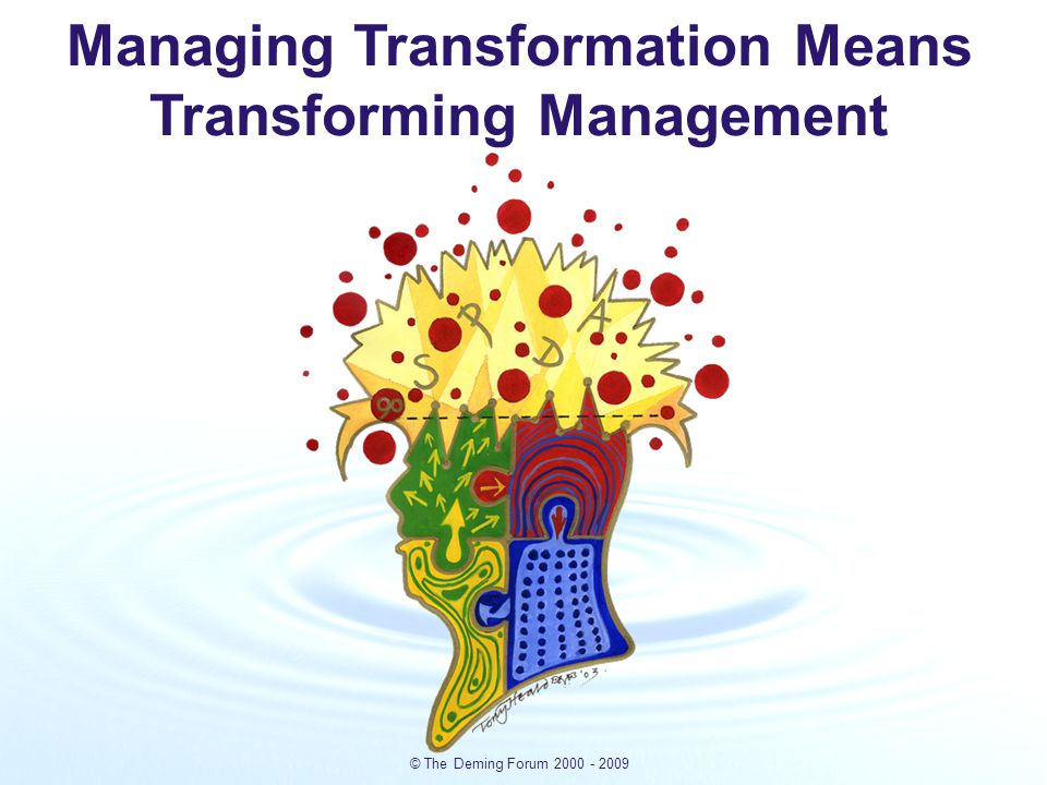 © The Deming Forum 2000 - 2009 Deming's system of management - the four key disciplines required to transform any organisation.