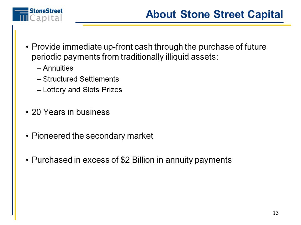 13 About Stone Street Capital Provide immediate up-front cash through the purchase of future periodic payments from traditionally illiquid assets: –Annuities –Structured Settlements –Lottery and Slots Prizes 20 Years in business Pioneered the secondary market Purchased in excess of $2 Billion in annuity payments
