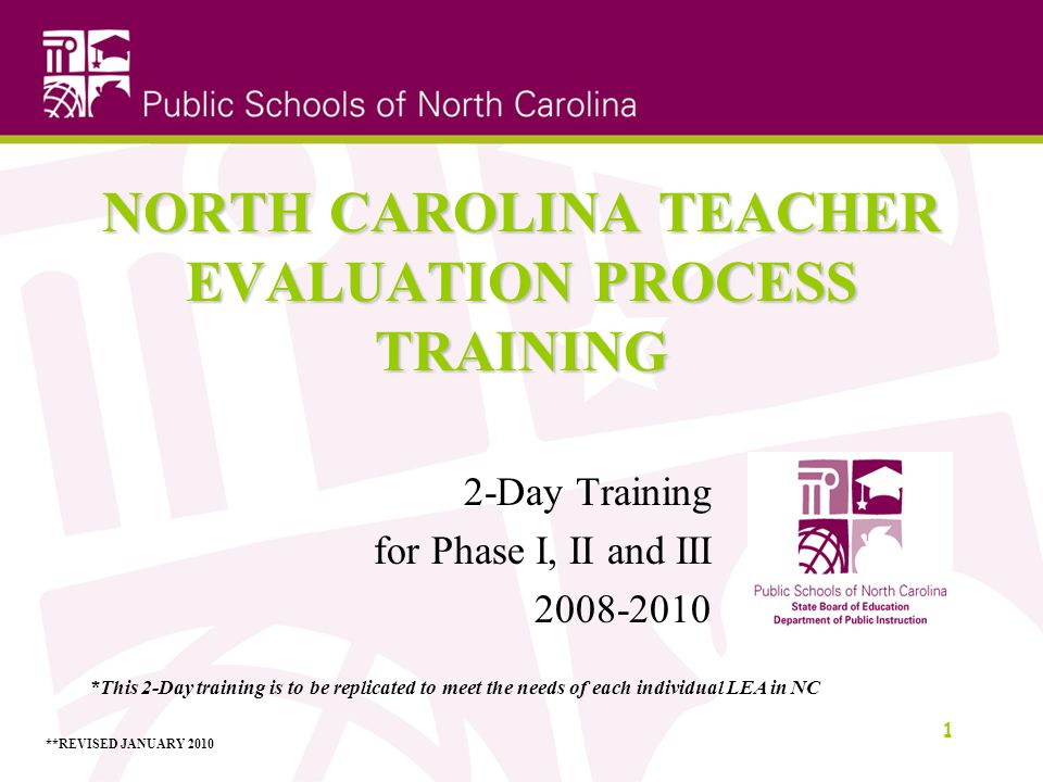 NORTH CAROLINA TEACHER EVALUATION PROCESS TRAINING 2-Day Training for Phase I, II and III 2008-2010 1 *This 2-Day training is to be replicated to meet the needs of each individual LEA in NC **REVISED JANUARY 2010