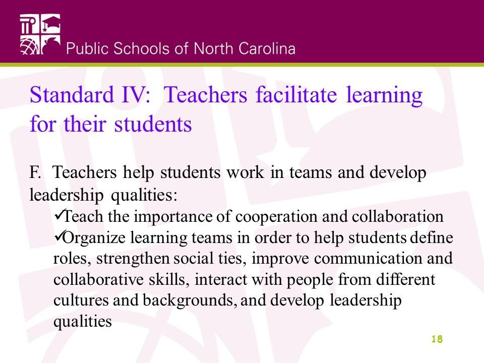 18 Standard IV: Teachers facilitate learning for their students F.