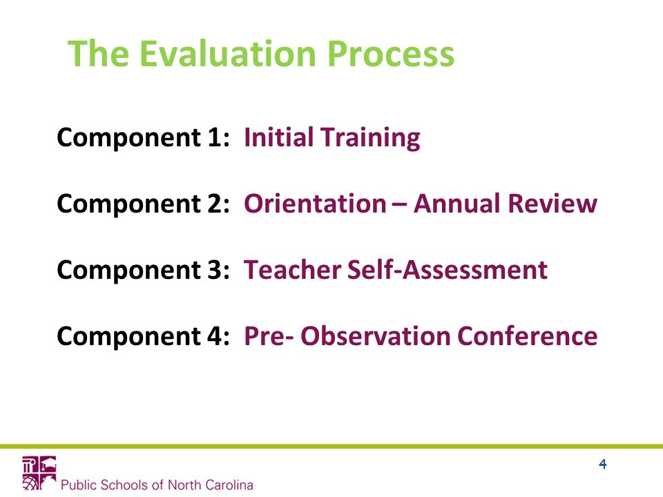 The Evaluation Process Component 1: Initial Training Component 2: Orientation – Annual Review Component 3: Teacher Self-Assessment Component 4: Pre- Observation Conference 4