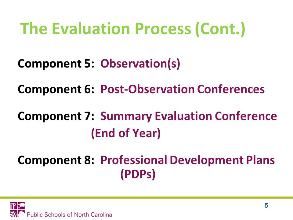 The Evaluation Process (Cont.) Component 5: Observation(s) Component 6: Post-Observation Conferences Component 7: Summary Evaluation Conference (End of Year) Component 8: Professional Development Plans (PDPs) 5