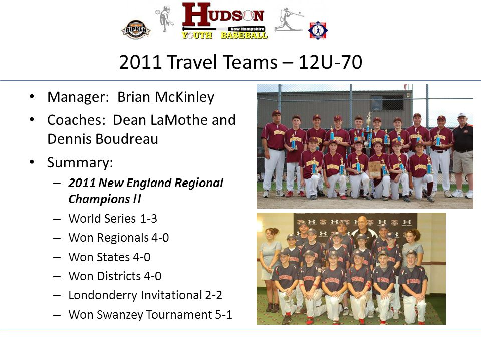 2011 Travel Teams – 12U-70 Manager: Brian McKinley Coaches: Dean LaMothe and Dennis Boudreau Summary: – 2011 New England Regional Champions !! – World