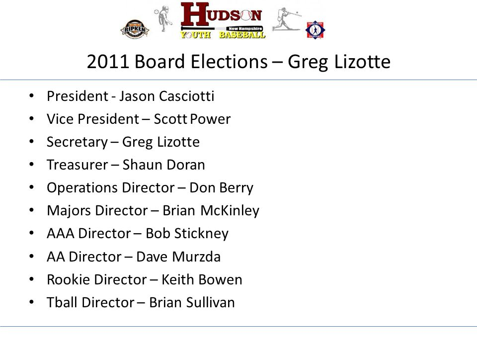 2011 Board Elections – Greg Lizotte President - Jason Casciotti Vice President – Scott Power Secretary – Greg Lizotte Treasurer – Shaun Doran Operations Director – Don Berry Majors Director – Brian McKinley AAA Director – Bob Stickney AA Director – Dave Murzda Rookie Director – Keith Bowen Tball Director – Brian Sullivan