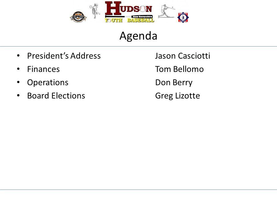 Agenda President's AddressJason Casciotti Finances Tom Bellomo OperationsDon Berry Board ElectionsGreg Lizotte