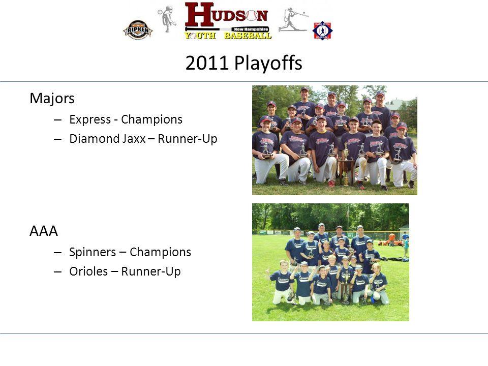 2011 Playoffs Majors – Express - Champions – Diamond Jaxx – Runner-Up AAA – Spinners – Champions – Orioles – Runner-Up