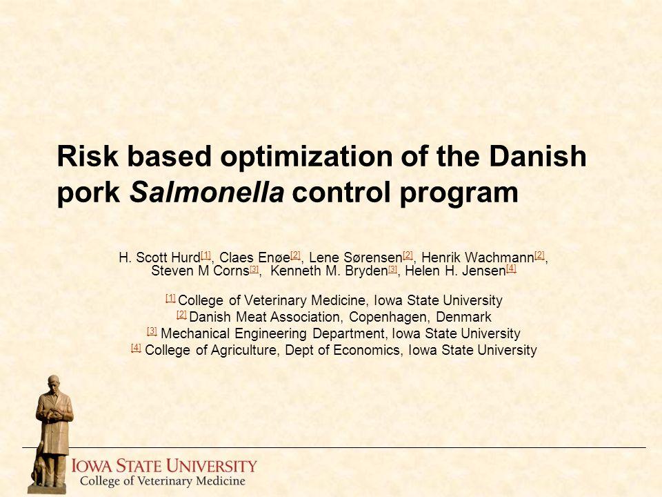 Risk based optimization of the Danish pork Salmonella control program H. Scott Hurd [1], Claes Enøe [2], Lene Sørensen [2], Henrik Wachmann [2], Steve