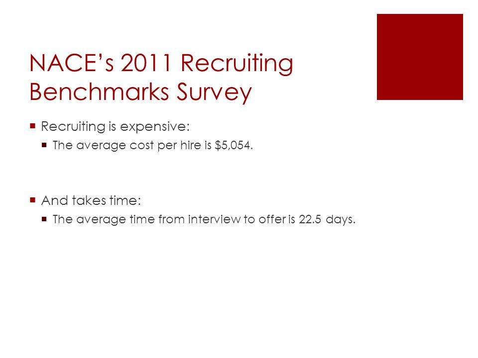 NACE's 2011 Recruiting Benchmarks Survey  Recruiting is expensive:  The average cost per hire is $5,054.  And takes time:  The average time from i