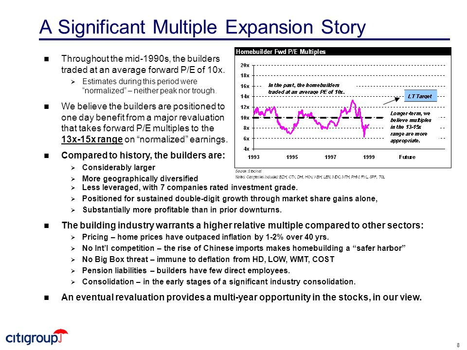 8 A Significant Multiple Expansion Story n Throughout the mid-1990s, the builders traded at an average forward P/E of 10x.
