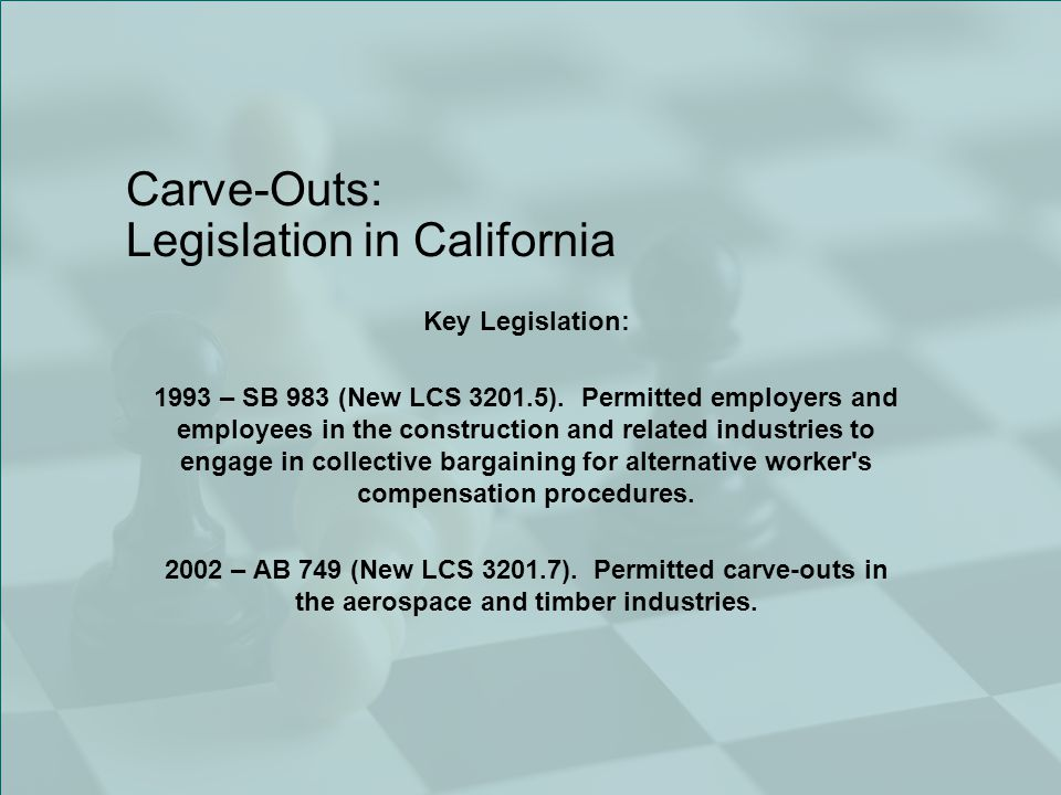Carve-Outs: Legislation in California Key Legislation: 1993 – SB 983 (New LCS 3201.5).