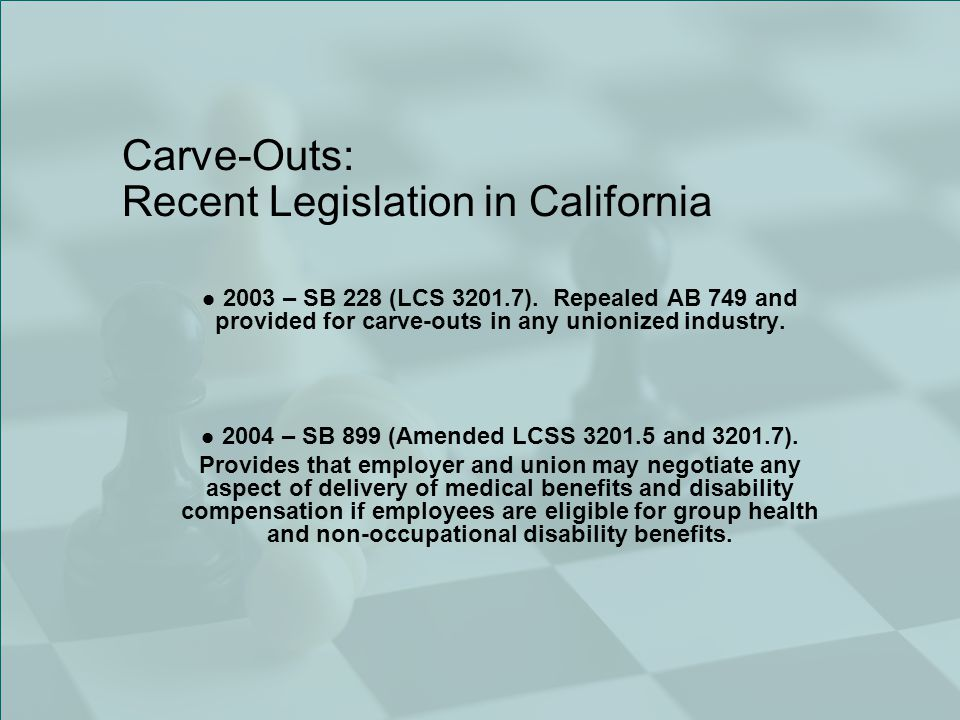 Carve-Outs: Recent Legislation in California 2003 – SB 228 (LCS 3201.7).
