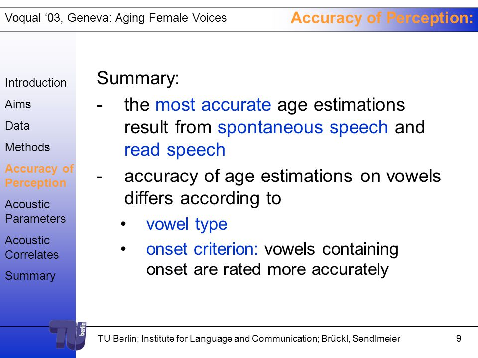 Voqual '03, Geneva: Aging Female Voices TU Berlin; Institute for Language and Communication; Brückl, Sendlmeier8 Accuracy of Perception Introduction Aims Data Methods Accuracy of Perception Acoustic Parameters Acoustic Correlates Summary rp.864.000.862.000.460.000.738.000.559.000.344.005.603.000.443.000