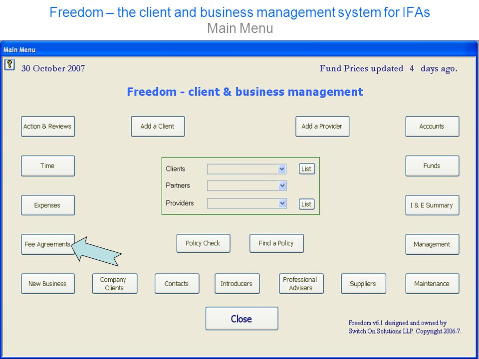 Freedom – the client and business management system for IFAs Main Menu