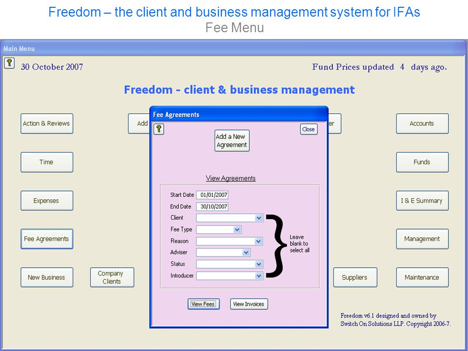 Freedom – the client and business management system for IFAs Fee Menu
