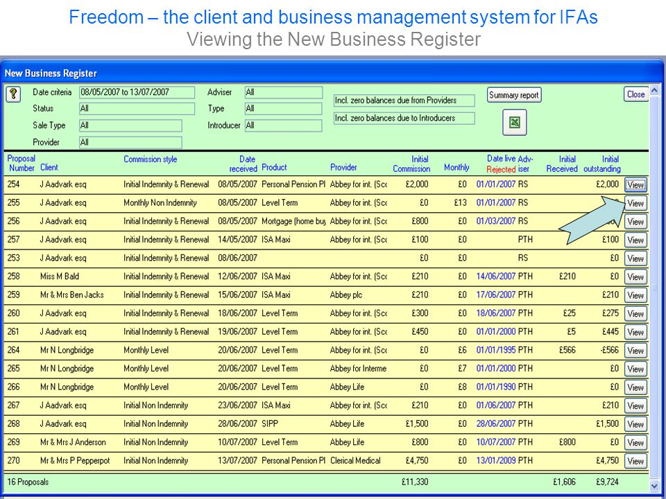 Freedom – the client and business management system for IFAs Viewing the New Business Register