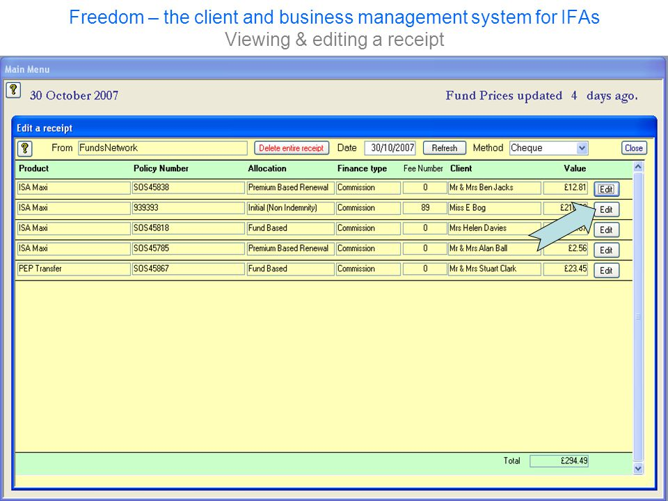 Freedom – the client and business management system for IFAs Viewing & editing a receipt