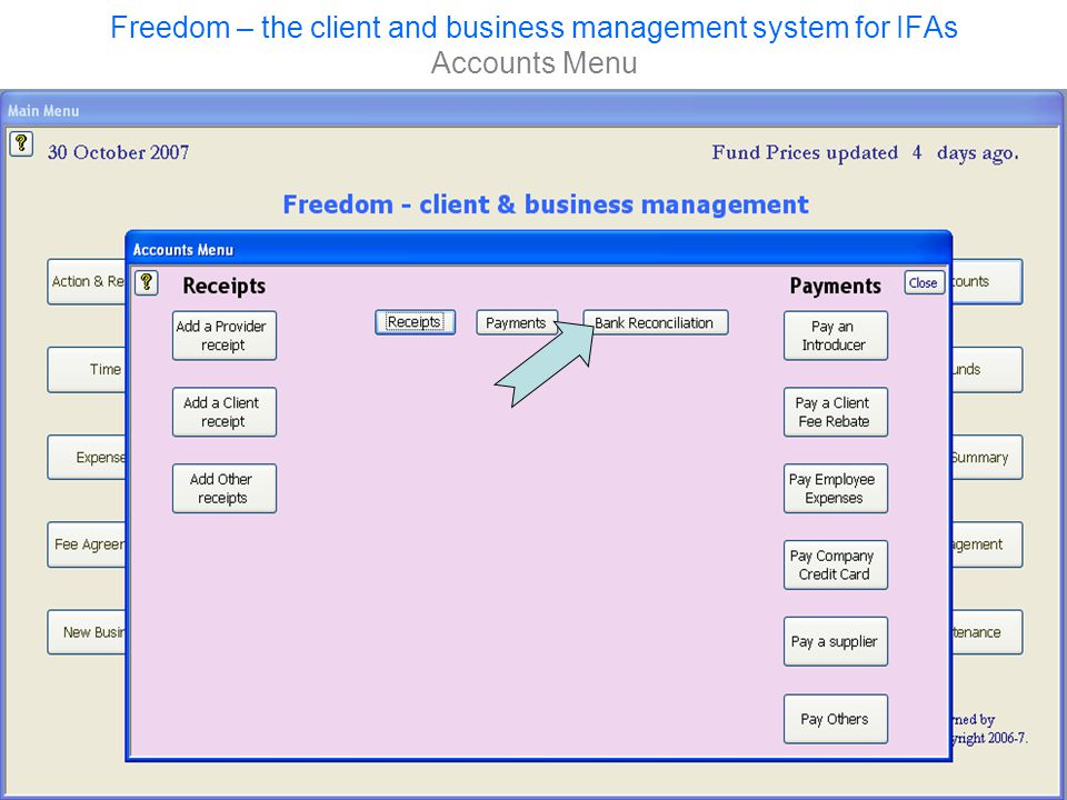 Freedom – the client and business management system for IFAs Accounts Menu