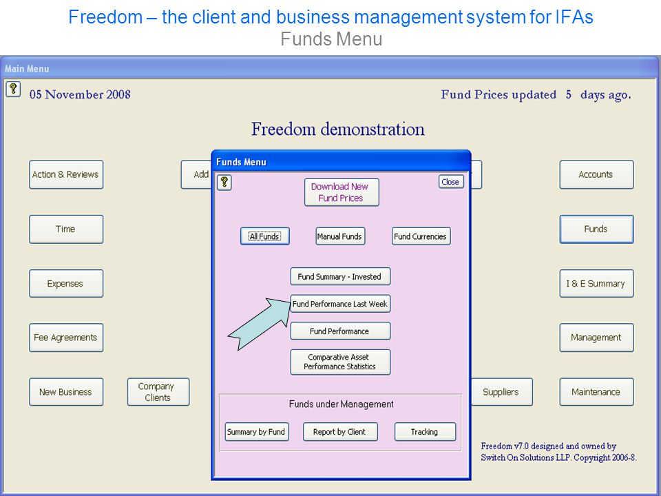 Freedom – the client and business management system for IFAs Funds Menu