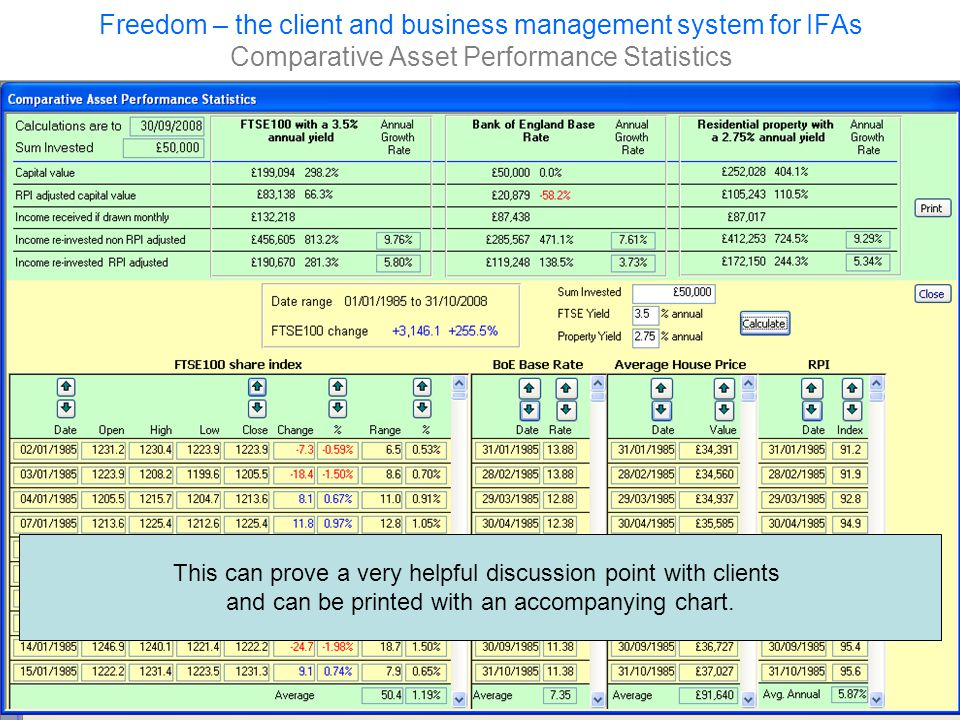 Freedom – the client and business management system for IFAs Comparative Asset Performance Statistics This can prove a very helpful discussion point with clients and can be printed with an accompanying chart.