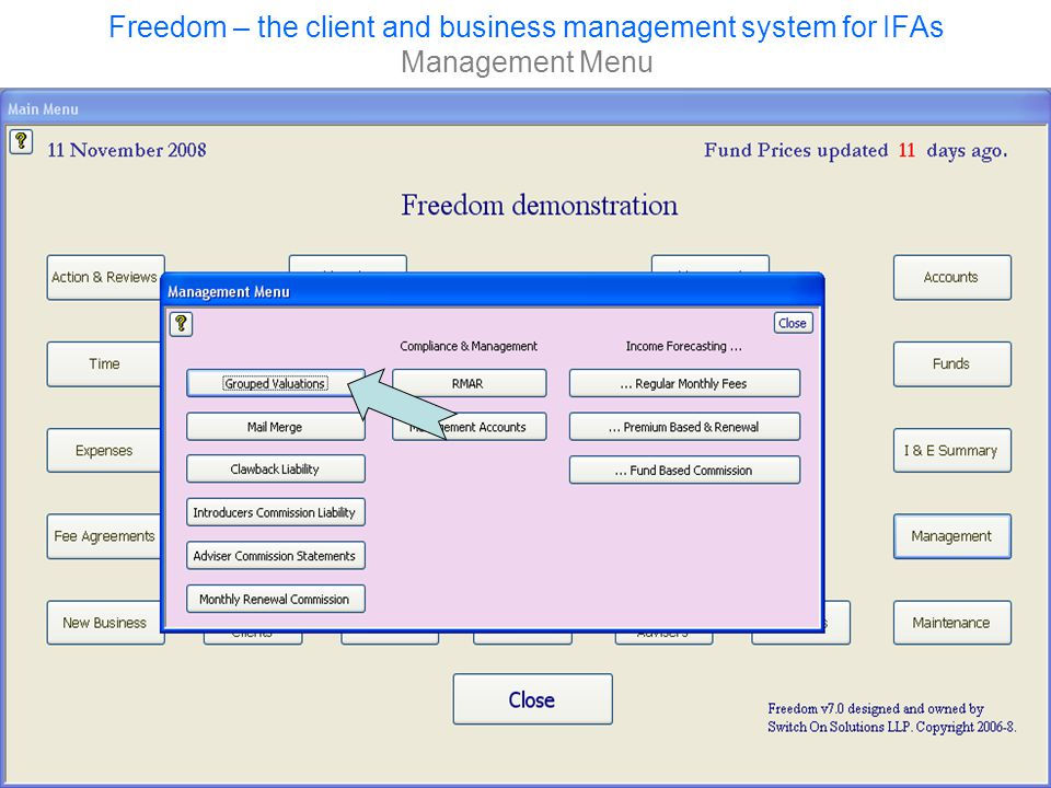 Freedom – the client and business management system for IFAs Management Menu