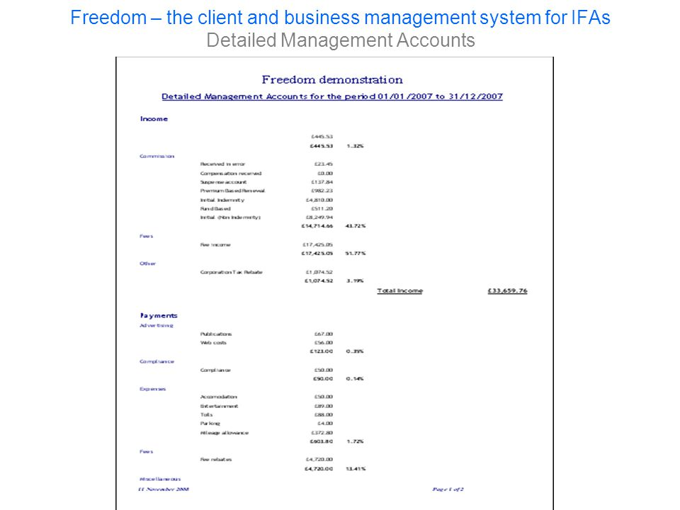 Freedom – the client and business management system for IFAs Detailed Management Accounts