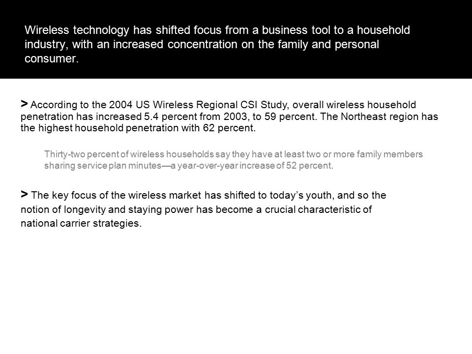 Wireless as an Industry with the Longevity for the Future.