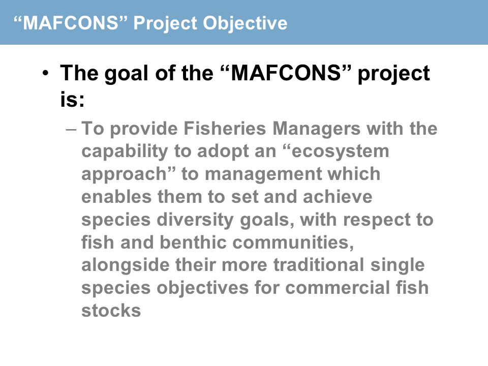 """MAFCONS"" Project Objective The goal of the ""MAFCONS"" project is: –To provide Fisheries Managers with the capability to adopt an ""ecosystem approach"""