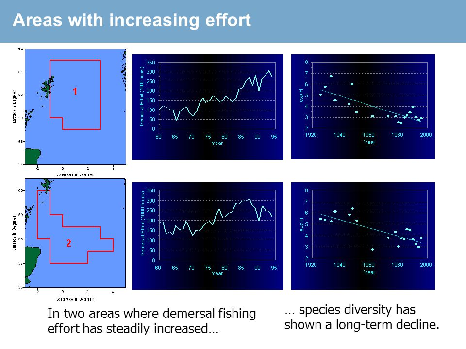 Area with decreasing effort In a third area, where fishing effort has declined in recent years, Groundfish species diversity has also decreased here.