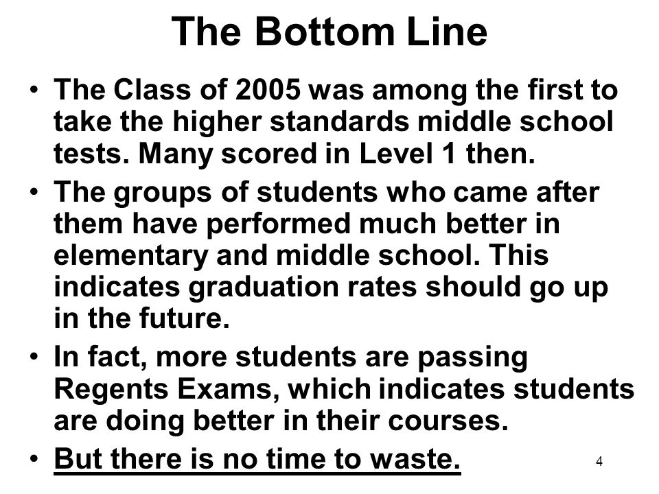 4 The Bottom Line The Class of 2005 was among the first to take the higher standards middle school tests.