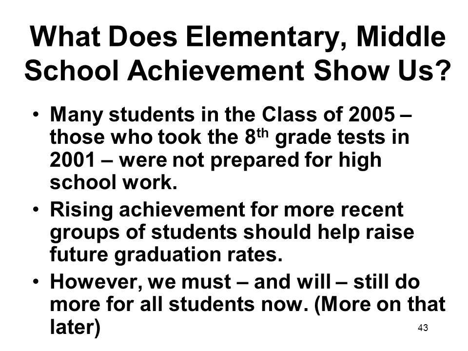 43 What Does Elementary, Middle School Achievement Show Us.