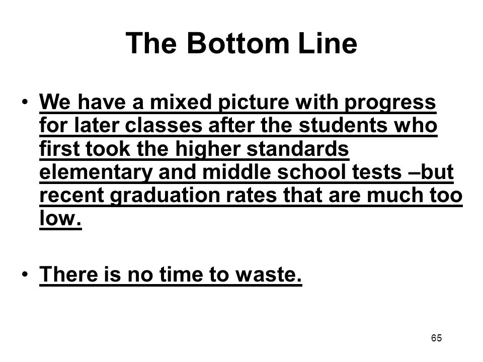 65 The Bottom Line We have a mixed picture with progress for later classes after the students who first took the higher standards elementary and middle school tests –but recent graduation rates that are much too low.