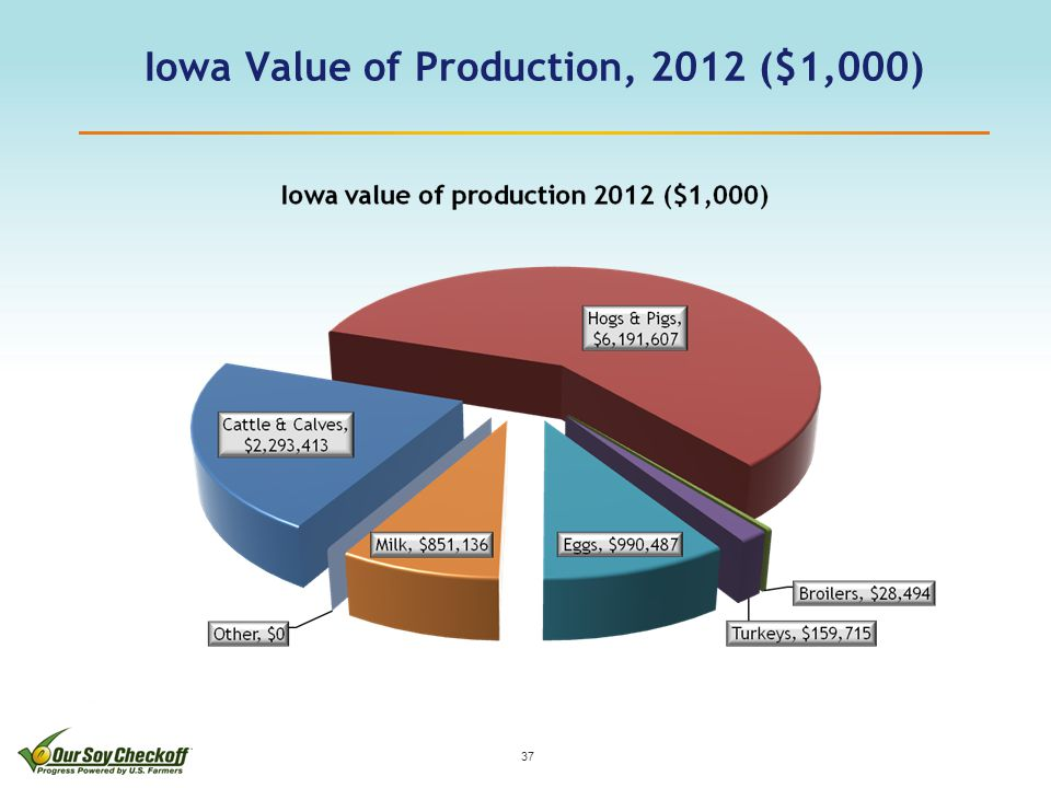 Iowa Value of Production, 2012 ($1,000) 37