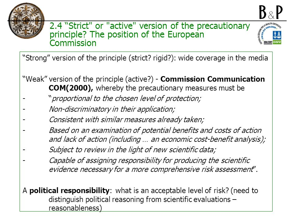 2.4 Strict or active version of the precautionary principle.