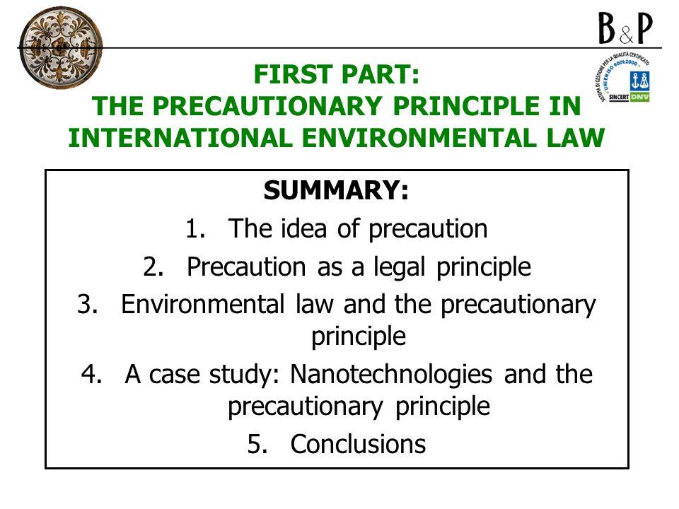 1.THE IDEA OF PRECAUTION 1.1. Risk, uncertainty of science and precaution 1.2.