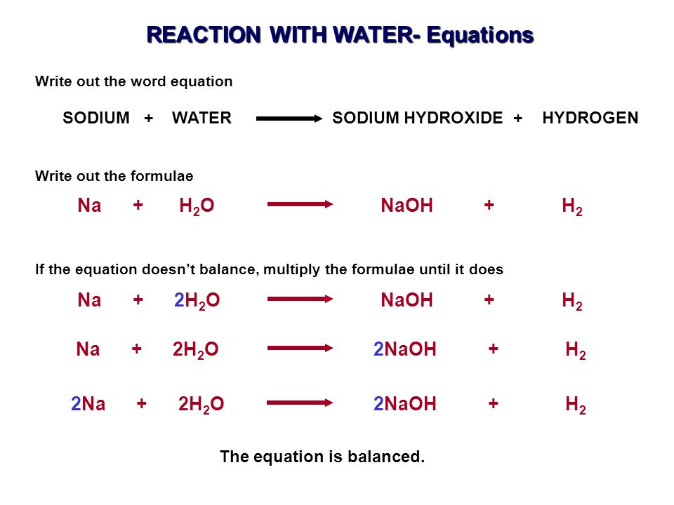 Na + H 2 O NaOH + H 2 SODIUM + WATER SODIUM HYDROXIDE + HYDROGEN Write out the word equation Na + 2H 2 O 2NaOH + H 2 Write out the formulae Na + 2H 2 O NaOH + H 2 If the equation doesn't balance, multiply the formulae until it does 2Na + 2H 2 O 2NaOH + H 2 The equation is balanced.